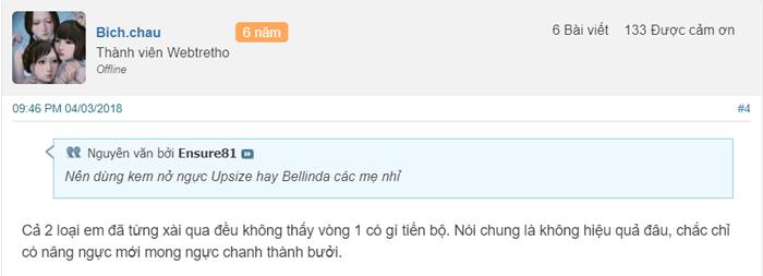 kem nở ngực bellinda có tốt không